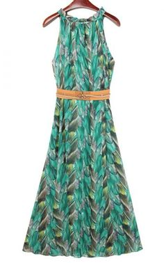 Green Halter Neck Peacock Feather Print Maxi Chiffon Dress pictures