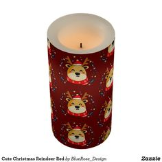 Cute Christmas Reindeer Red Flameless Candle Flameless Candles, Led Candles, Holiday Cards, Christmas Cards, Christmas Decorations, Christmas Items, Christmas Card Holders, Decorating Your Home, Reindeer