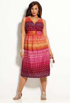 Blue Ethnic Print Cotton Sundress   Plus Size Sundresses   Avenue ...
