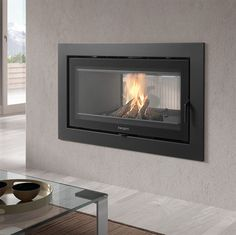 Show details for Sere 100 Double Sided Inset Inset Fireplace, Wood Burner Fireplace, Double Sided Fireplace, Fireplace Wall, Living Room With Fireplace, Fireplace Design, Fireplace Modern, Fireplace Ideas, Double Sided Log Burner