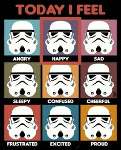 """Star Wars """"Today I Feel"""" Feelings Chart I love this! It is perfect for me. I am a therapist and a Star Wars fan. Star Wars Quotes, Star Wars Humor, Star Wars Memes Clean, Star Wars Lego, Lego Star, Star Wars Classroom, Classroom Job Chart, Classroom Memes, Feelings Chart"""
