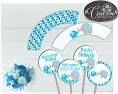 Now available at our store: Baby shower boy C.... Check it out here! http://snoopy-online.myshopify.com/products/baby-shower-boy-cupcake-toppers-and-cupcake-wrappers-printable-in-aqua-blue-elephant-theme-digital-jpg-and-pdf-instant-download-ebl01