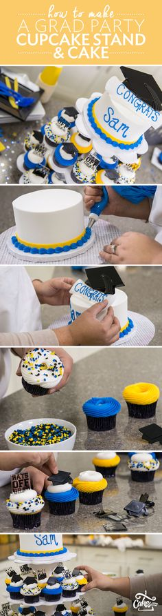 Serve cupcakes and cake at your graduation party. Follow the DIY tutorial to learn how to create this towering cupcake stand.
