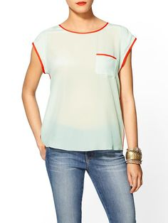 ZOA Silk Pocket Blouse in Mint with Red Outlining! Yes please! Get it now on @Piperlime®