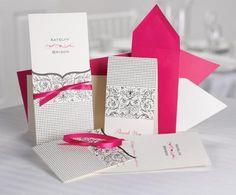 pocket wedding invite in rose pink color