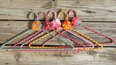 Vintage Bold Crocheted Hangers Set 3 by bigyellowvintage on Etsy, $20.00