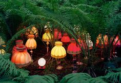 """lasrina: """" lesleegab: """" cutesy: """" by Norwegian conceptual artist Rune Guneriussen """" reminds me of the Mad Hatter's tea party """" All of the lamps that were replaced by IKEA lamps are marching home for. Norway Forest, Norway Nature, Land Art, Light Art, Book Installation, Art Installations, Art Et Nature, Colossal Art, Through The Looking Glass"""
