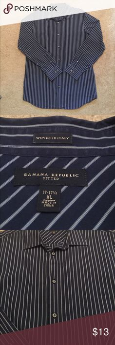 Banana Republic Woven Shirt Dark navy with small pinstripe. Size XL (17-17 1/2 fitted) good condition. Retail $79 Banana Republic Shirts Dress Shirts