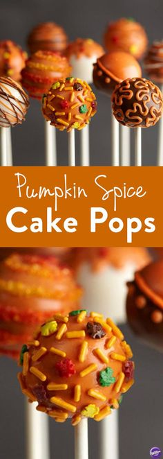 Pumpkin Spice Cake Pops - The perfect dessert for fall! Make these delicious cake pops as mini treats for your Thanksgiving dinner. Dip in melted Candy Melts candy and decorate.