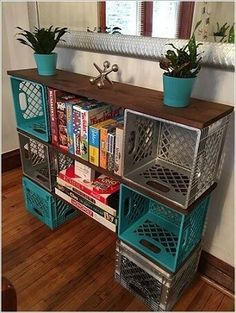 Diy milk crate storage clever ideas to recycle plastic milk crates diy milk crate storage bench . Easy Home Decor, Home Organization, Crate Diy, Plastic Milk Crates, Diy Furniture, Diy Storage, Crate Shelves, Home Decor, Craft Room