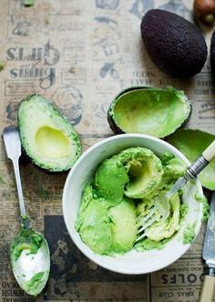 Avocados and healthy skin    For an excellent skin complexion, rub one or more of the following items against the skin two to four times a week: papaya pulp, avocado, cucumber, spirulina, fresh noni fruit and/or aloe vera. For dry skin, rub hempseed oil, jojoba oil and MSM lotion directly into the skin. This will alleviate dryness quickly. Or use avocado on the skin directly. Avocado oil is similar to our skin's oil.  - The Sunfood Diet Success System by David Wolfe