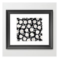 Daisies Framed Art Print ($47) ❤ liked on Polyvore featuring home, home decor, wall art, framed art prints, black paintings, acrylic wall art, home wall decor and black home decor