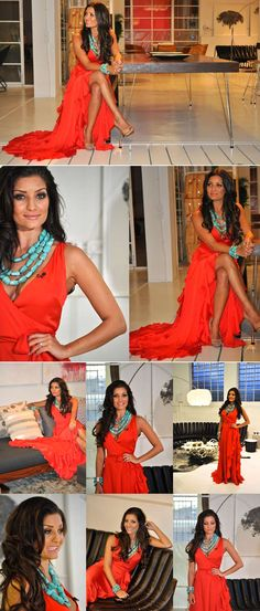 Jeannie d red dress template Tan Skin, Pretty Dresses, Color Inspiration, Passion For Fashion, Cute Outfits, Sari, Turquoise, Dress Template, My Style