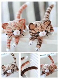 Crochet Cat Pattern, Crochet Amigurumi Free Patterns, Animal Knitting Patterns, Stuffed Animal Patterns, Stuffed Animals, Crochet Baby Toys, Crochet Dolls, Crochet Animals, Crochet Crafts