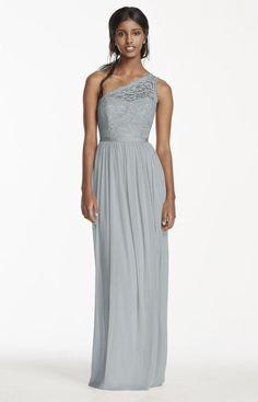 David's Bridal- Lace One Shoulder Bridesmaid Dress - Mystic