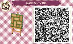 Animal Crossing: New Leaf & HHD QR Code  Mossy bricks path with yellow flower border #8<-