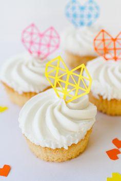 DIY Geometric Heart Cake Toppers: http://www.bespoke-bride.com/2015/02/04/geometric-heart-cake-toppers/