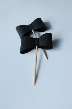 12 Paper Bowtie Cupcake Toppers by BleuDogCreativeShop on Etsy, $5.00