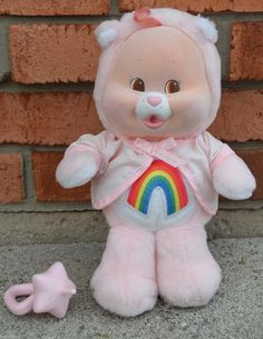 Vintage Baby Cheer Bear Cub Plush Flocked Care Bear Kenner Complete Accessory | eBay