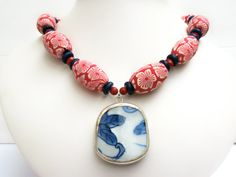 Red Statement Necklace, Pottery Shard Jewelry by polishedtwo, $30.00