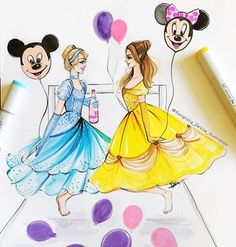 Woke up in 2017 with Belle and Cinderella  Hope you have a wonderful first day of new year! #cinderella #belle #disneyworld #disneyprincess #disneystyle #disney #watercolor #artistsofinstagram #art #fashion #copic