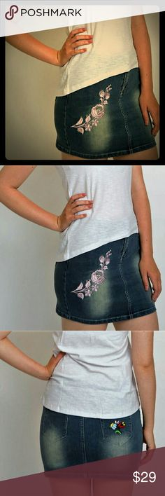 Embroidered denim mini skirt. European style embroidered jeans mini skirt. Pink floral embroidery on front.Unique design.5 pocket design.Excellent quality denim.Super sexy.Limited quantity.Save and buy now. embroidery dezigns Skirts Mini