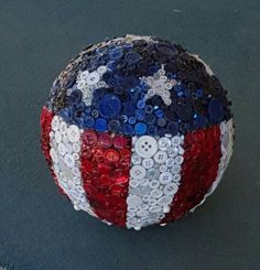 Bowling ball yard art from my studio. Bowling ball yard art from my studio. Bowling Ball Crafts, Bowling Ball Garden, Mosaic Bowling Ball, Bowling Ball Art, Garden Balls, Bowling Pins, Bowling Party, Button Art, Button Crafts