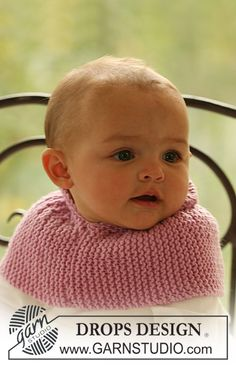"BabyDROPS 16-8 - DROPS neck warmer in garter st in ""Merino Extra Fine"". - Free pattern by DROPS Design"