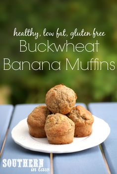 Buckwheat Banana Muffin Recipe - this healthy, low fat and gluten free muffin recipe has become a favourite within our family (even with the gluten eaters!). It even has sugar free options as well!