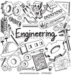 Mechanical, electrical, civil, chemical and other engineering education profession handwriting doodle icon tool sign and symbol in white isolated background paper used for presentation title (vector). Check out that cool T-Shirt here: https://www.sunfrog.com/trust-me-im-an-engineer-NEW-DESIGN-2016-Black-Guys.html?53507