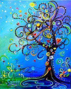 Original Modern Swirly Whimsical Tree Acrylic Painting SALE by Kathleen Fenton via Etsy. Art Fantaisiste, Arte Fashion, Nail Fashion, Art Diy, Art Et Illustration, Whimsical Art, Tree Art, Oeuvre D'art, Painting Inspiration