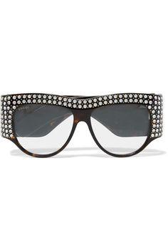 Gucci - D-frame Crystal-embellished Acetate Sunglasses - Black - one size