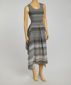 Loving this Black & White Geometric Tie-Waist Handkerchief Dress on #zulily! #zulilyfinds