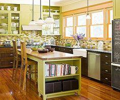 Green kitchen and dark cabinets