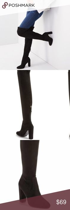 """Steve Madden """"Emotions' Stretch Over the Knee Boot Sleek, minimal styling defines this over-the-knee boot fashioned with an almond toe and a tall wrapped heel. Steve Madden Shoes Over the Knee Boots"""