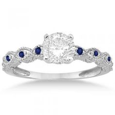 Amazon.com: Vintage Marquise Blue Sapphire Engagement Ring 14k White Gold (0.18ct): Jewelry