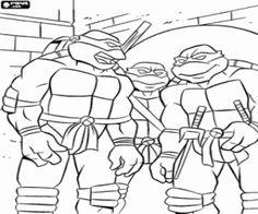 the ninja turtles in one of their adventures coloring page - Ninja Turtle Pizza Coloring Pages