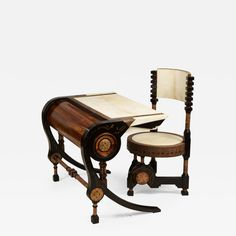 Carlo Bugatti Desk / Writing Table - -Style Writing Chair Moroccan Other Brass, Ebony, Macassar, Parchment Paper
