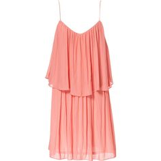 Zara Strappy Dress With Frill (€27) ❤ liked on Polyvore featuring dresses, vestidos, robes, tops, coral pink, pink cocktail dress, pink red dress, pink frilly dress, frilly dress and pink strap dress