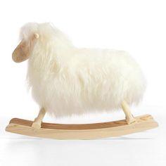 Povl Kjer Long Haired Rocking Sheep in White