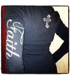 Faith Shirt, Rhinestone Shirt, Christian Tshirt, Faith Top, Religious Clothing, Custom TShirt, $40.00