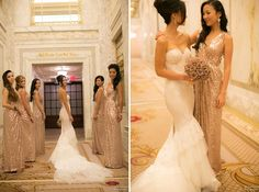 Bridesmaid Dresses in rose gold and Bouquet
