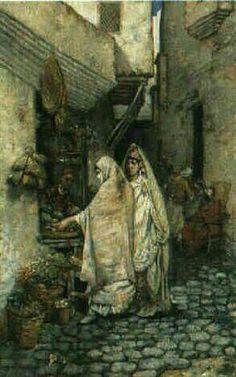 Algérie - Peintre Français Alfred CHATAUD (1833-1908), Huile toile,Titre: Emplettes dans la Casbah d'Alger