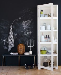 What are your thoughts on black walls? An accent wall here or there in a strong color can really make a room pop, and an entire Chalkboard Wall Bedroom, Blackboard Paint, Kitchen Chalkboard, Chalk Wall, Chalkboard Decor, Chalk Board, Black Chalkboard, Wood Wall, Chalk Paint