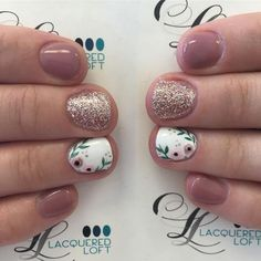 Short Nails Manicure Ideas - Short Nails Nail Art Designs - Glitter nails - You are in the right place about Manicure publicidad Here we offer you the most beautif Nail Art Designs, Orange Nail Designs, Short Nail Designs, Nail Designs Spring, Nail Designs Floral, Nail Art Flowers Designs, Pedicure Designs, Cute Nails, Pretty Nails