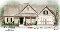Like the little porch with the two windows as counterbalance to the door.  Very simple.    Tyler House Plan | House Plans by Garrell Associates, Inc