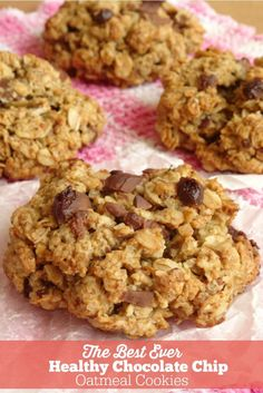 The Best Ever Healthy Chocolate Chip Oatmeal Cookies | Healthy Cookie Recipes | Healthy Oatmeal Cookies | Low Calorie Cookies