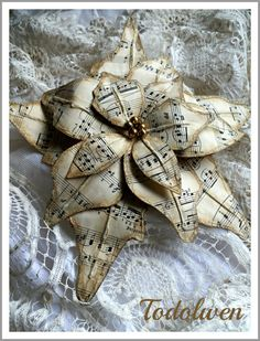 Music Sheet Poinsettia Tutorial by Todolwen on Etsy