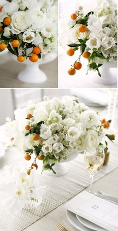 White flowers and citrus
