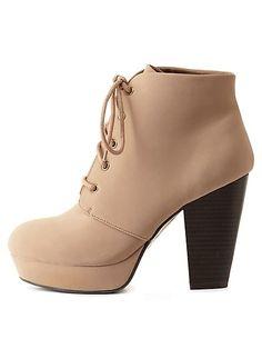 Chunky Heel Lace-Up Platform Booties: Charlotte Russe #CRshoecloset #booties